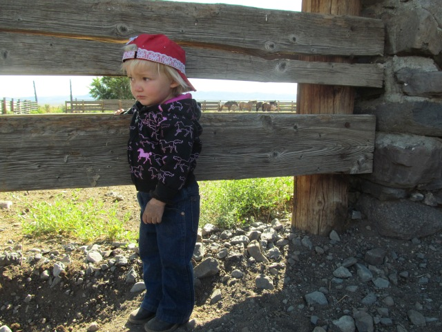 Gazing away from the cavvy, because she's too cool to look at her favorite horse, Shorty.
