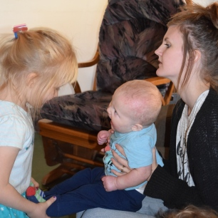 Grace loved playing with baby Cody. Isn't his mama pretty?
